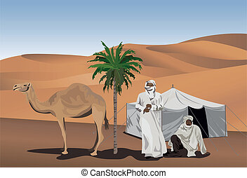 Bedouins - Background illustration with bedouins and camel