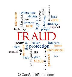 bedrägeri, ord, moln, begrepp