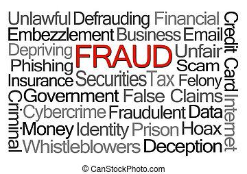 bedrägeri, ord, moln