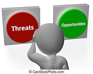 bedreigingen, tonen, kansen, knopen, analyzing, tactiek, of