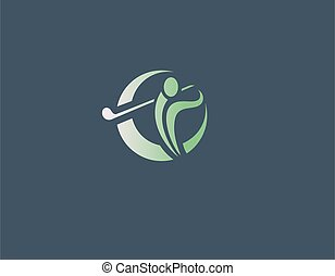 bedrijf, abstract, logo, man, pictogram, helling, golf