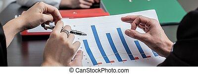 bedrijf, analyzing, winsten
