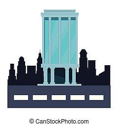 bedrijf, glas, toren