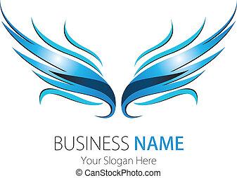 bedrijf, logo, ontwerp, vleugels
