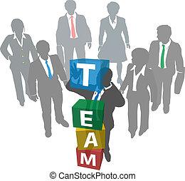 bedrijf, mensen, bouwen, handel team