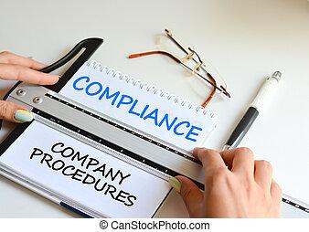 bedrijf, naleving, intern, test, volgen, procedures
