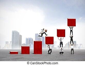 bedrijf, statistiek, helpen