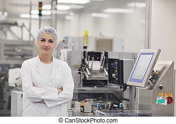 bedrijf, vrouw, arbeider, apotheek
