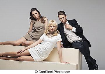 bedrijf, vrouwen, schattige, kerel, mooi