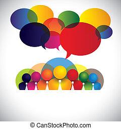bedrijf, witte boord, werknemers, multi rassen, stafmedewerkers, -, concept, vector., de, grafisch, ook, optredens, mensen, conferentie, sociaal, media, netwerk, bedrijf, management, &, plank, leden, kleurrijke, anders, personeel