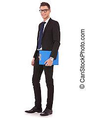 bedrijfsblauw, jonge man, klembord