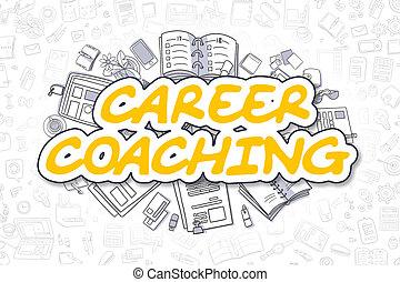 bedrijfscarrière, -, concept., text., gele, coachend, spotprent