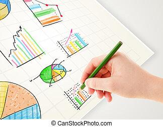 bedrijfspersoon, tekening, kleurrijke, grafieken, en, iconen, op, papier