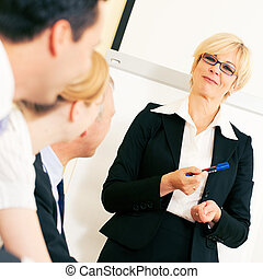 bedrijfspresentatie, in, vergadering