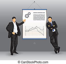 bedrijfspresentatie, plank, met, zakenlui