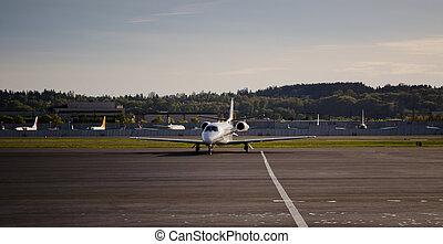 bedrijfsstraalvliegtuig, het arriveren, op, helling