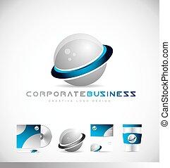 bedrijfszaak, 3d, bol, logo
