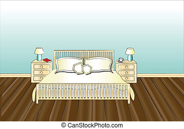 Bedroom - A vector illustration of a bedroom with space for...