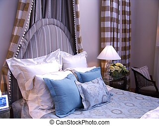bedroom - bed with headboard and pillows
