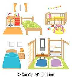 Bedroom, childs room, crib, Japanese style room, vector file