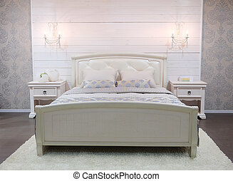 bedroom - double bed isolated under the white background