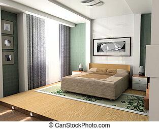 Bedroom - Interior, modern, bedroom, design, place, rest,...