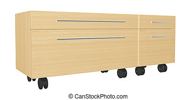 Bedroom dresser with drawers, on wheels