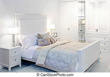 Bedroom - Elegant fancy white bedroom with double bed