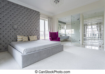 Bedroom full of space - Luxurious bedroom interior full of...