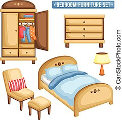 Bedroom Furniture Vector Clip Art Royalty Free 8219