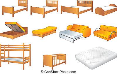 Bedroom furniture set, vector - Various bedroom furniture:...