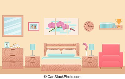Bedroom, hotel room interior with bed. Vector Illustration.