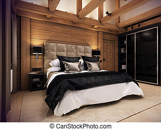 Bedroom house in the mountain - The cozy bedroom is in the...