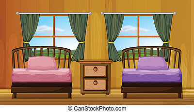 Bedroom - Illustration of a bedroom with two beds