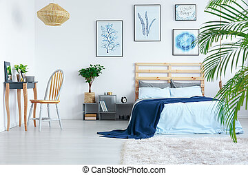Bedroom in apartment - Decorated white bedroom in stylish...
