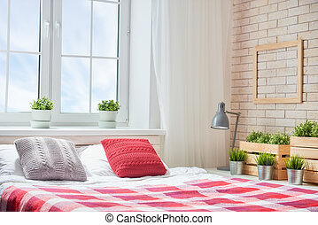 Bedroom in bright colors.