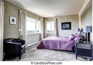 Bedroom in grey tones with purple bed