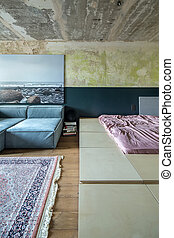Bedroom in loft style
