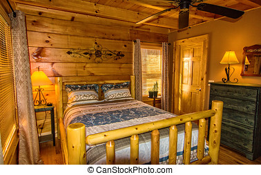 Bedroom in Log Cabin