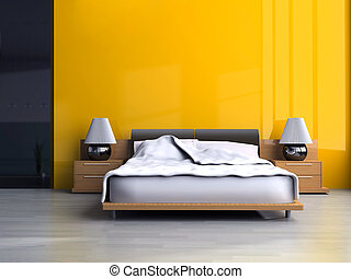 Bedroom in modern style 3d rendering
