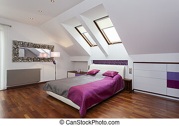 Bedroom in the attic - Modern bedroom in the attic of...