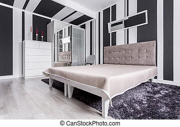 Bedroom in trendy apartment
