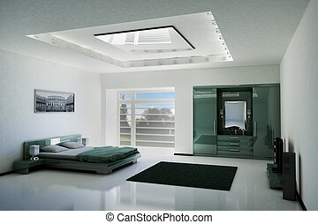 bedroom interior with LCD TV and speakers 3d render