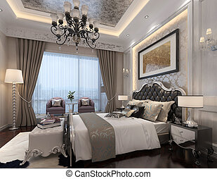 Bedroom Interior 3D Rendering