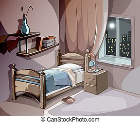 Bedroom interior at night in cartoon style. Vector sleeping concept background