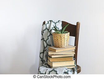 Bedroom interior close up with green plaid, books and plant on a chair