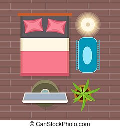 Bedroom Interior Decor on Vector Illustration