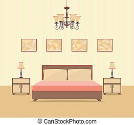 Bedroom interior design in flat style including bed, table, lamps, nightstands and picture frames.
