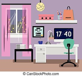Bedroom Interior flat design. Room in pink colors with window, computer, desk, chair, lamp. Modern vector illustration