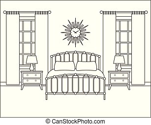 Bedroom interior. Hotel room in retro design. Vector illustration.